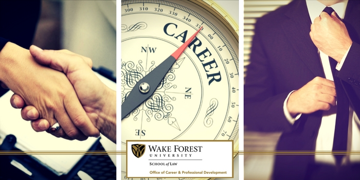 Three images next to each other: left, two hand shaking; center, compass with career written on it and OCPD logo; right, man in business suit