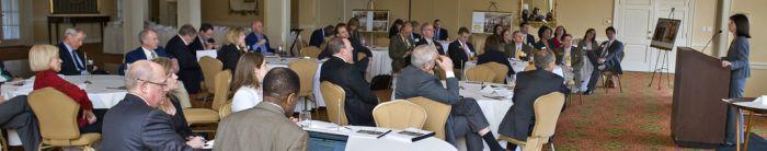 Photo of Ann Gibbs talking to a group of alumni