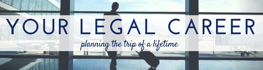 Image of man waiting at airport with bag with writing across: Your legal career - planning the trip of a lifetime