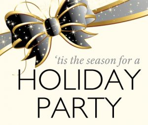 """Graphic of a black and gold bow with """"tis the season for a holiday party"""" in text."""
