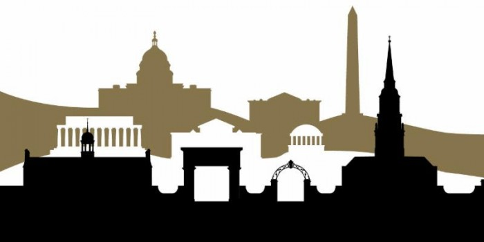 Image of graphic rendition of WFU Reynolda campus outline in front of a Washington DC skyline outline