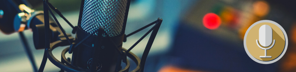 Image of a microphone with microphone logo on the right.